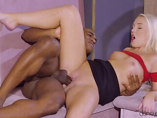 Interracial sex between a black guy and slutty blonde Lovita Fate