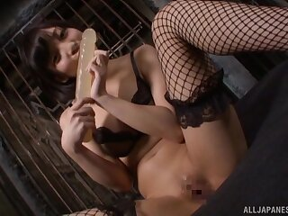 Japanese slave sucks a large dick and gets fucked balls deep