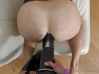 Femdom strapon fucking with huge dildo
