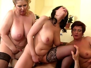 Lucky boy shared between 3 busty mothers