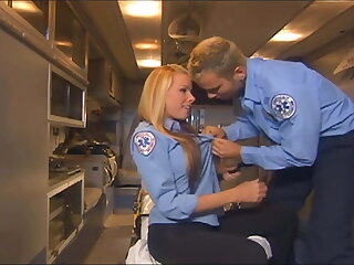 Uniformed babe fucking in the back of an ambulance