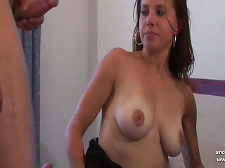 Busty french babe hard analized DP cum covered in a gangbang