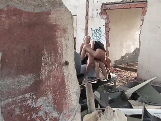 Hot blonde Kathy Anderson having MMF threesome in an abandoned building