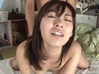 Oiled chick Sana Mizuhara gets her pussy fucked balls unfathomable cavity