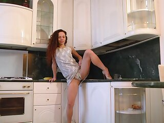 Epigrammatic special redhead Anee Ocean moans while masturbating in the kitchenette