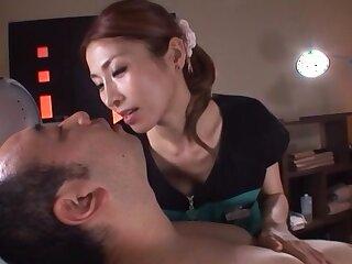 Japanese cutie Akari Asahina enjoys giving a blowjob to a stranger