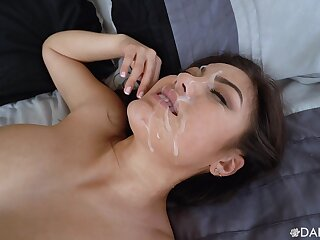 Asian cutie rides it almost reverse  for a magical facial almost the end