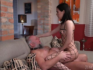 Skinny young brunette acts dominant with her older clear the way slave