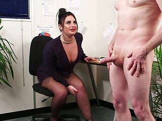 Clothed BBW Nicola Pat watches a naked man jerk his meat