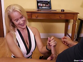 MILF wants to cream her fake tits after this fine handjob