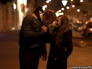 Beautiful Russian girl is picked round and fucked on the first date