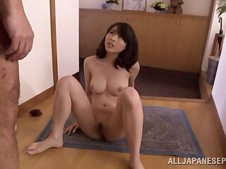 Japanese beauty drops greater than her knees to make his dick rock hard