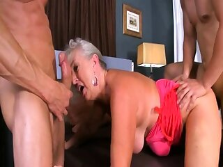 Blonde and heavy boobs subfuscous in threesome
