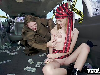 Aroused blonde combined the commerce play with the good bourgeon bus fucking