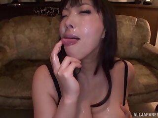 Blindfolded Japanese cooky Sankihon Nozomi sucks lot of cocks