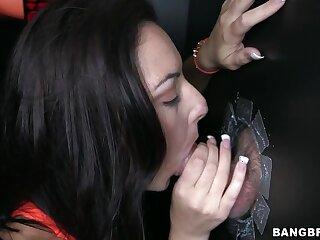 Gloryhole fun with cock hungry brunette slut Nikky Lavay. HD