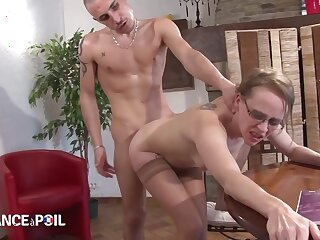 Small titted blonde is getting hammered during a private class, after sucking her students cock