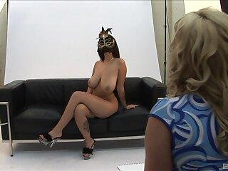 Masked whores share intense lesbian shag on cam